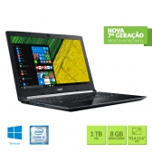 Notebook Acer A515-51-51Ux Intel Core I5 7200U 8Gb(2X4Gb) 1Tb 15,6 Windows 10 Home Cinza Escuro