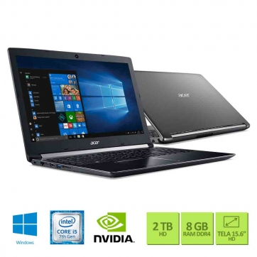 NOTEBOOK ACER A515-51G-50W8 INTEL CORE I5 7200U 8GB 2TB 15,6 GEFORCE 940MX 2GB WIN10 HOME PRETO